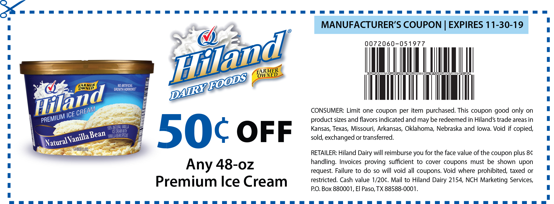 image relating to Ice Cream Coupons Printable titled Hiland Dairy Discount coupons Print