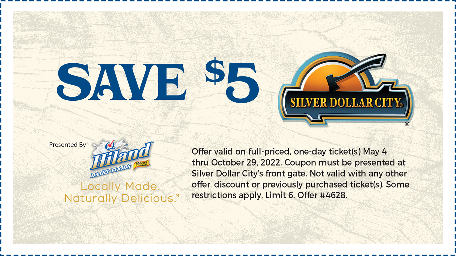 photo relating to Printable Coupons Silver Dollar City identified as Hiland Dairy Silver Greenback Metropolis